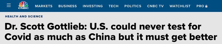 """美食药监局前局长:中国五天内完成900万人检测 这在美国是""""不可能的任务""""图片"""