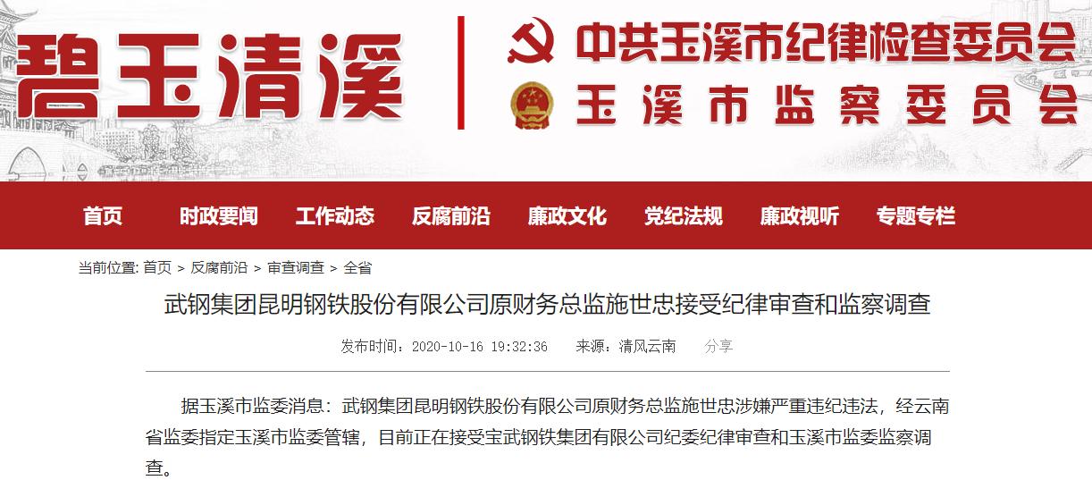 武钢集团昆明钢铁股份有限公司原财务总监施世忠被查