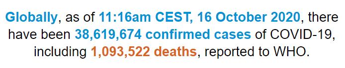 世卫组织:全球新冠肺炎确诊病例累计超过3861万例