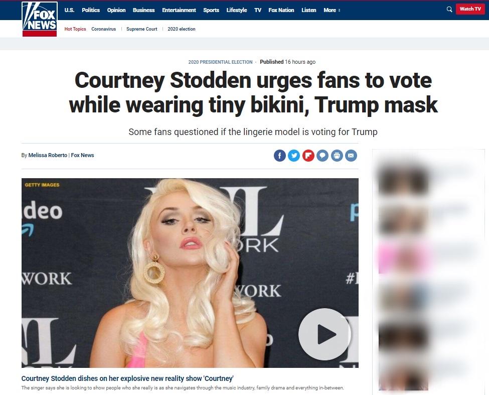 美国女模特穿比基尼戴特朗普面具呼吁粉丝投票(图)