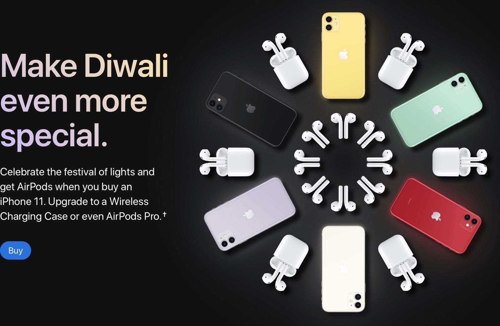 苹果印度排灯节促销:买任意iPhone 11即送AirPods