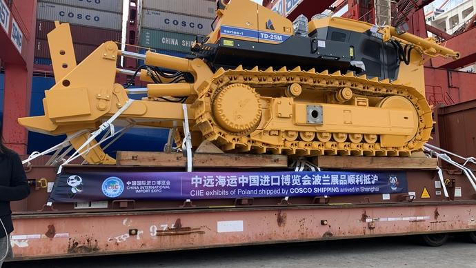 """重35吨!来自波兰的进博会""""重量级""""展品今晨从洋山港入境图片"""