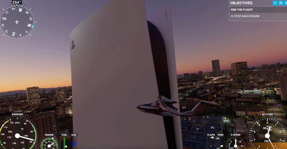 PS5和XBX在《微软飞行模拟》里都变成了大楼