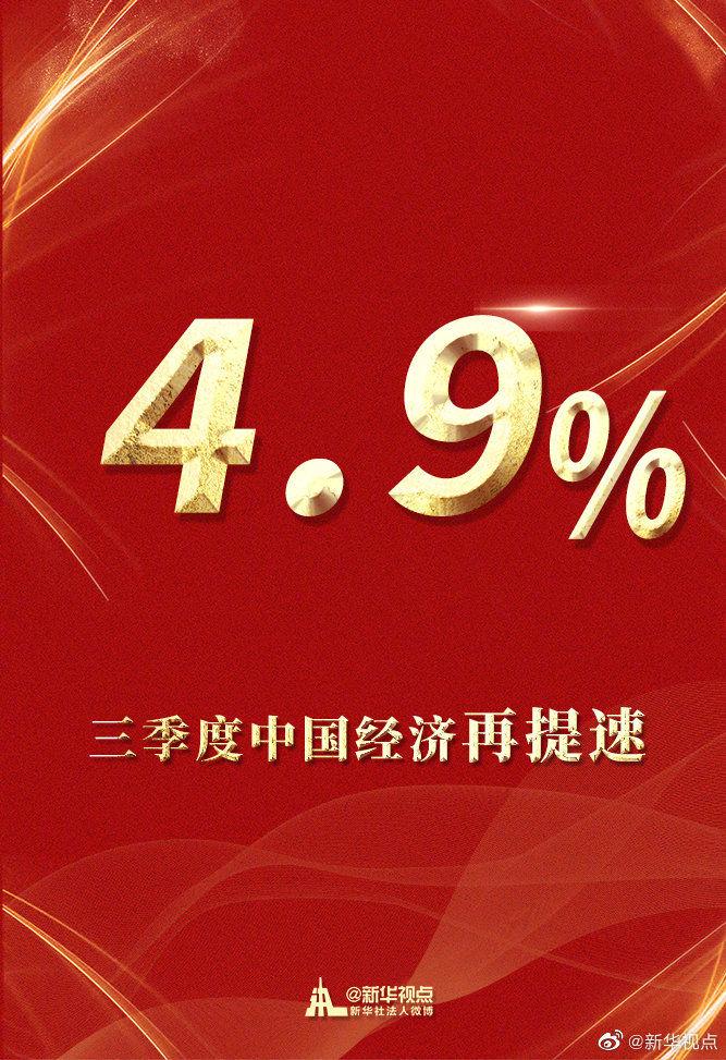 """新华社:最新""""成绩单""""来了!三季度中国经济增速加快至4.9%图片"""