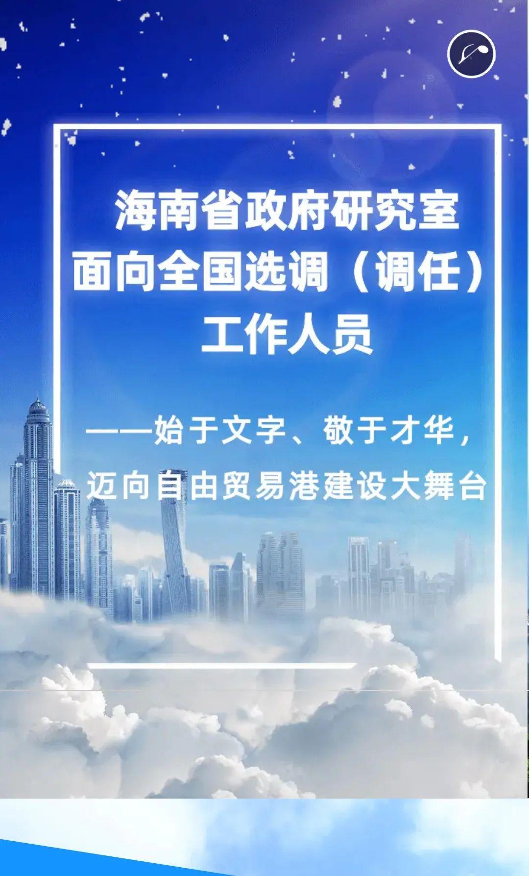 海南省政府研究室面向全国选调工作人员图片