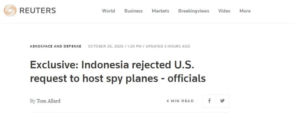 印尼拒绝美间谍机降落请求,印尼前副外长回应