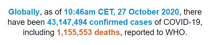 世卫构造:全世界新冠肺炎确诊病例超越4314万例