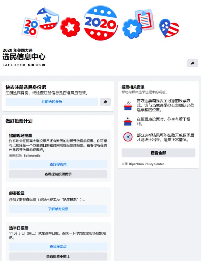 美国大选在即,Facebook发力助选民注册投票