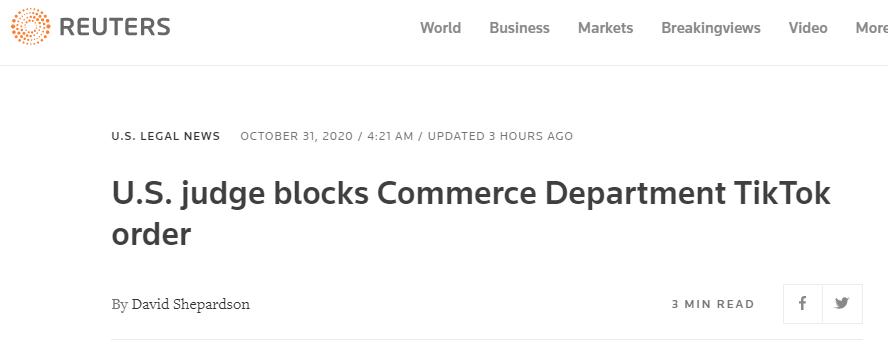 外媒:美法官暂不准执行美商务部TikTok技术交易禁令图片