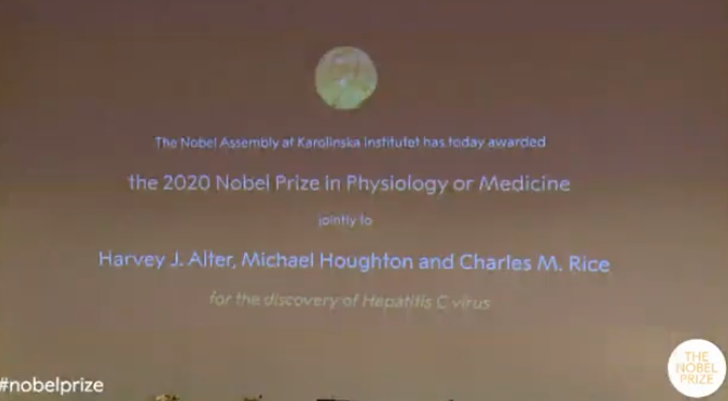 2020诺贝尔生理学或医学奖揭晓 三名科学家获奖