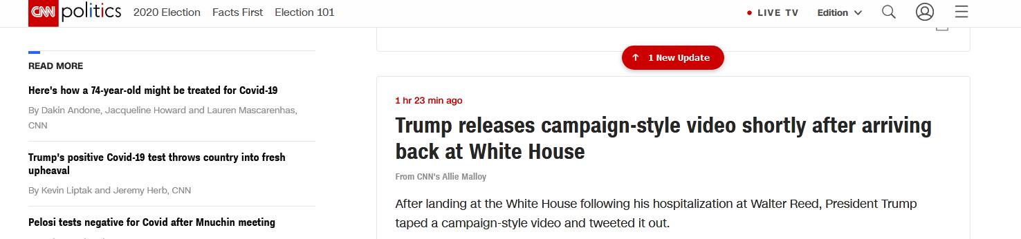 特朗普出院后称别怕病毒 美媒:视频是竞选风格的