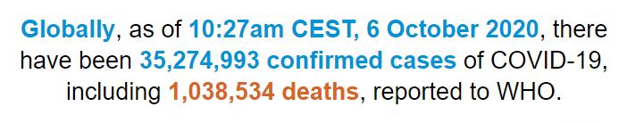 世卫组织:全球新冠肺炎确诊病例超过3527万例