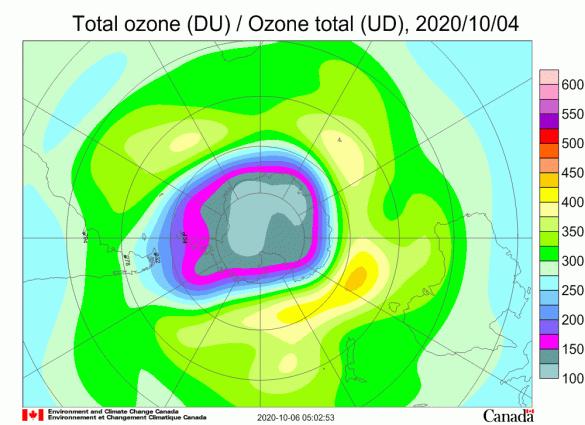 世界气象组织:2020年南极臭氧空洞又大又深
