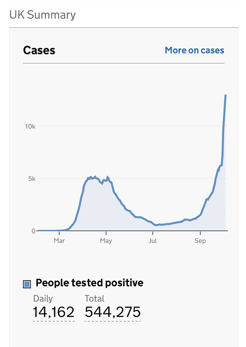 英国新增新冠确诊病例14162例 累计确诊544275例