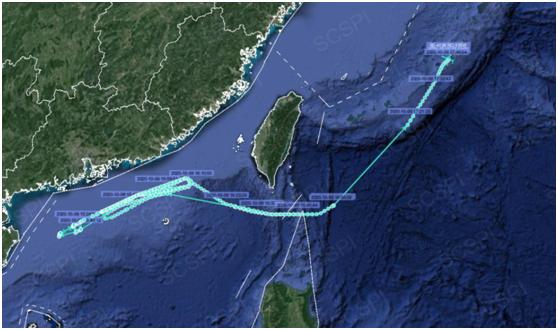 美军电子侦察机再对中国抵近侦察紧贴广东省海岸飞行图片
