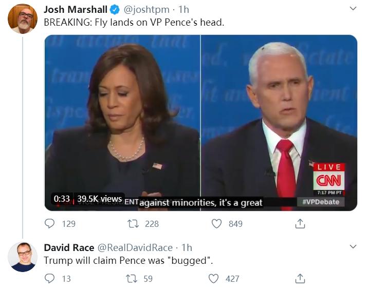 """辩论中,一只苍蝇落在彭斯头上后,推特""""炸了""""!"""