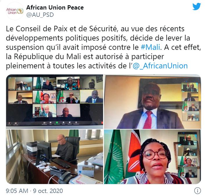 马里被恢复非洲联盟成员国资格