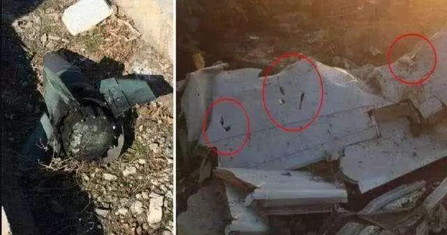 被击落飞机残骸上的疑似弹孔
