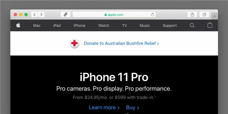 美国、澳洲苹果官网上线澳洲火灾救援募捐界面