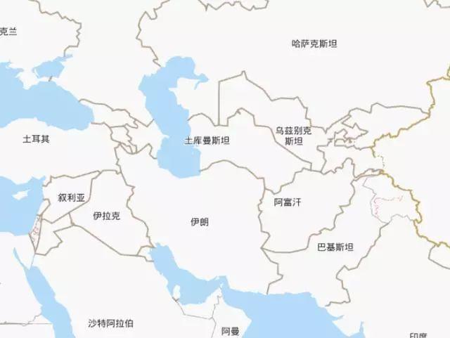 伊朗的位置,位于前苏联版图的南方