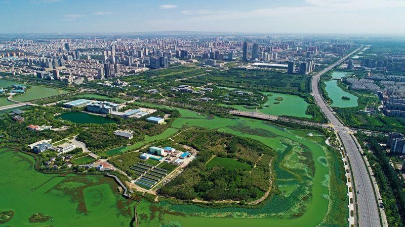 宁夏银川市金凤区俯瞰。 新华社资料图