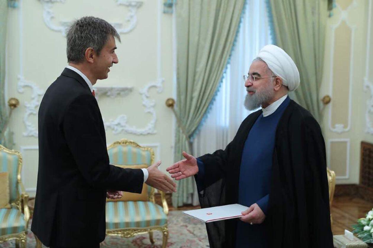 瑞典驻伊朗大使莱特纳与伊朗总统鲁哈尼 图源:瑞士驻伊大使馆网站