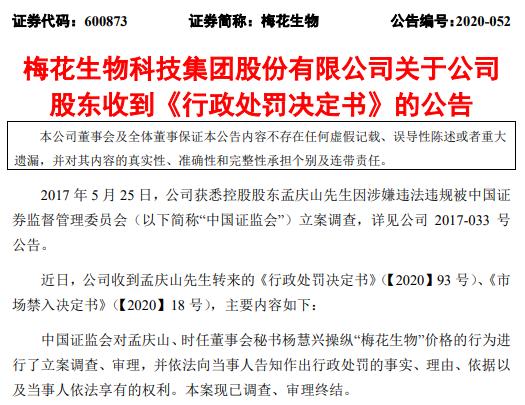 梅花生物操纵股价案大结局:前董事长及前董秘被罚没近1.5亿