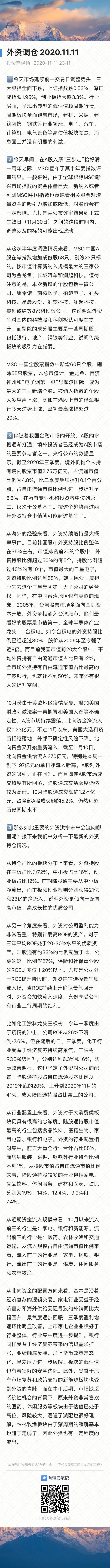 外资调仓2020.11.11