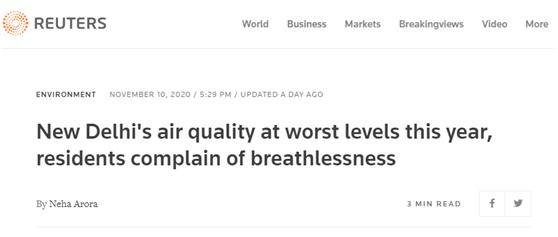 """外媒:昨天,印度首都空气质量""""今年最差"""""""