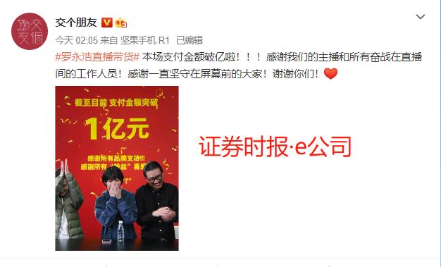 罗永浩双11直播带货支付金额破亿 尚纬股份