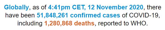 世卫组织:全球新冠肺炎确诊病例超过5184万例