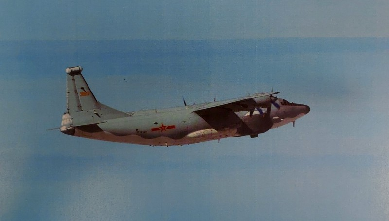 """台防务部门公布:解放军一架运-8""""远程干扰机""""今天进入台西南空域图片"""