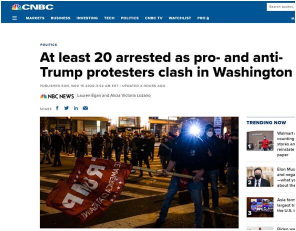 华盛顿集会冲突已致20人被捕,2名警察受伤