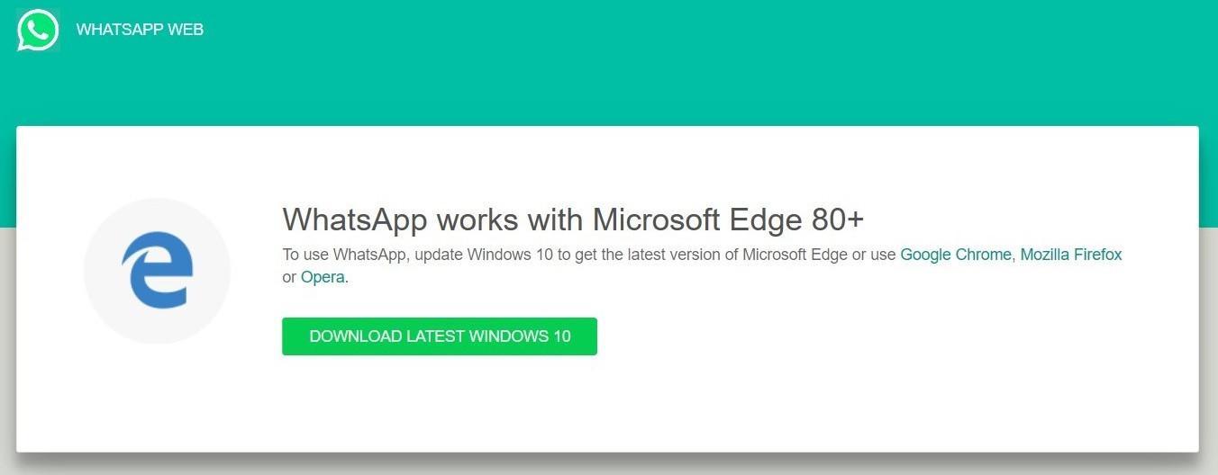 WhatsApp终止对Win10经典Edge浏览器支持