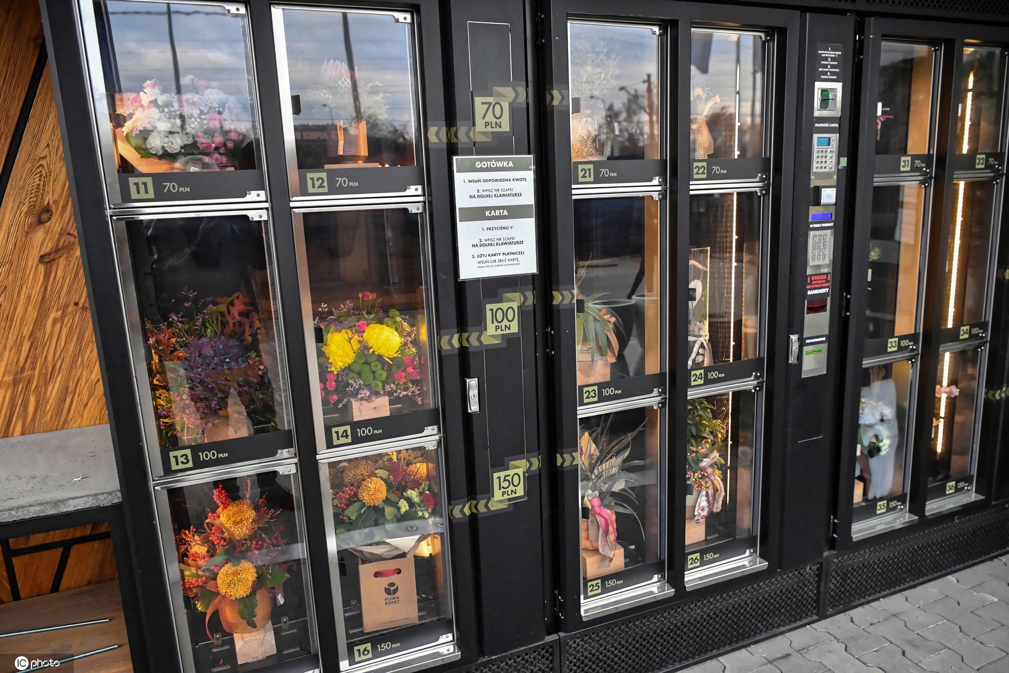 买鲜花像买饮料一样方便!波兰推出花卉自动售卖机