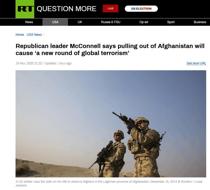 特朗普计划从阿富汗大规模撤军 共和党参议员警告