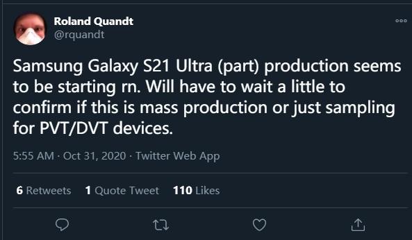 《【多彩联盟娱乐测速登录】三星Galaxy S21 Ultra开始部分生产工作,明年1月发布》