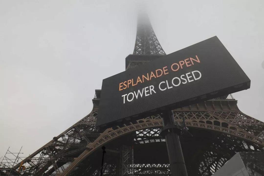 去年12月,因为罢工游行,埃菲尔铁塔临时关闭(图片来源:视觉中国)