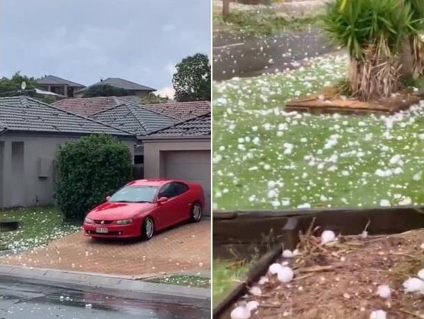 澳大利亚昆士兰州遭冰雹袭击 巨大冰雹砸穿窗户屋顶