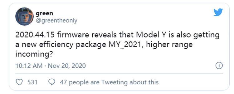 换装新电池?特斯拉Model Y固件代码隐藏属性曝光