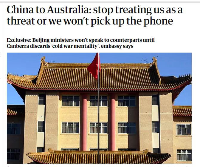 """中国官员告知澳方:停止视中国为战略威胁,否则""""不接电话""""图片"""