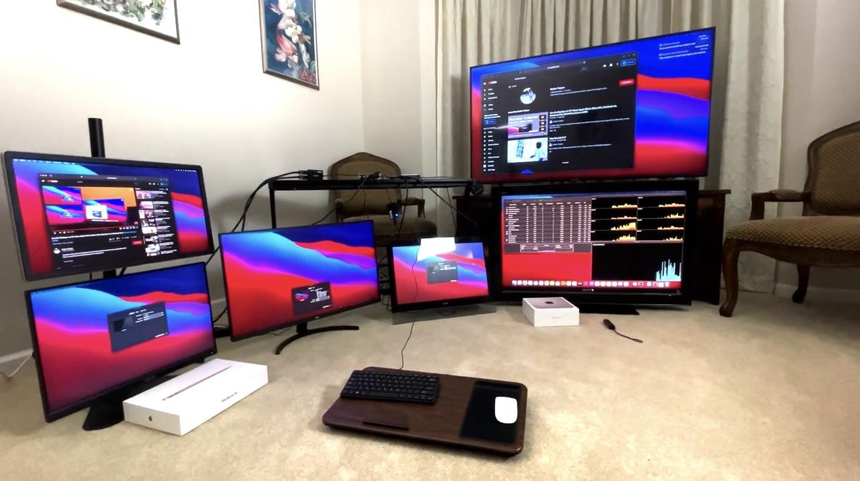 M1 Mac最多支持连接6个外接显示器