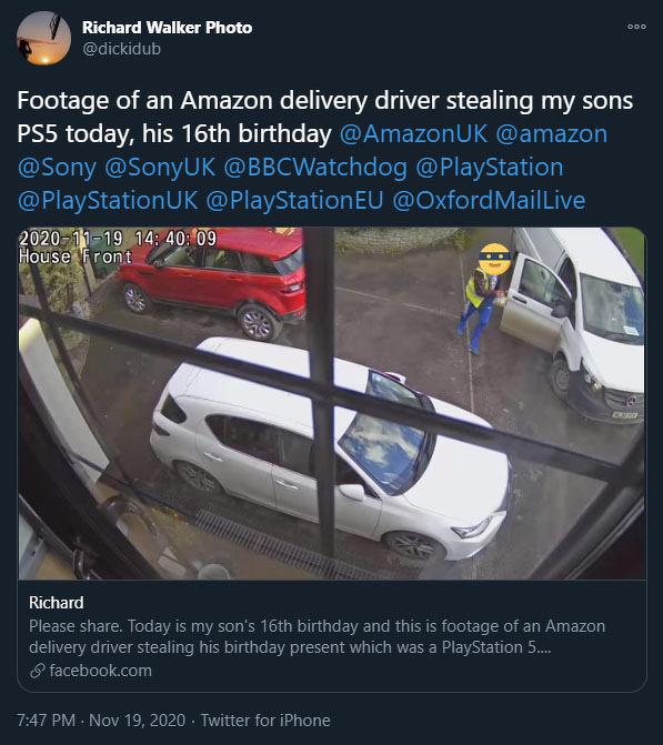 亚马逊送货员擅自带走用户购买的 PS5 游戏机遭解雇