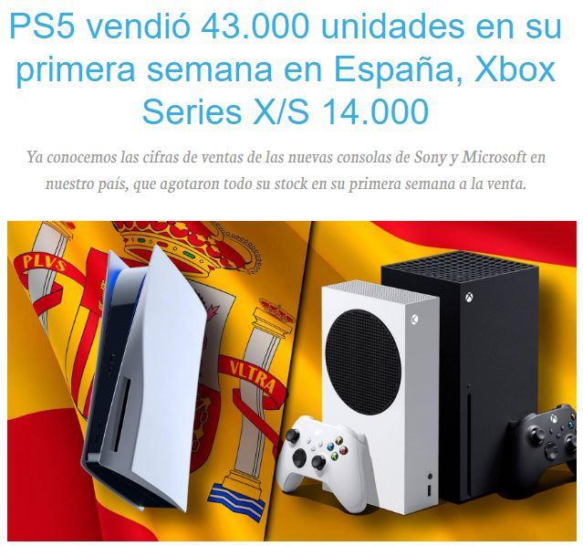 次世代主机西班牙首周销量对比 PS5占据优势