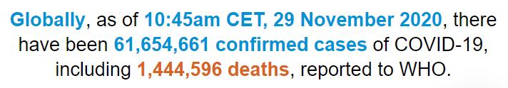 世卫组织:全球新冠肺炎确诊病例超过6165万例