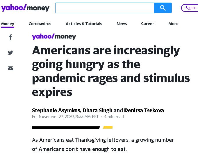 """美国""""空转"""":各地饥饿人口激增 纾困措施还是没影"""