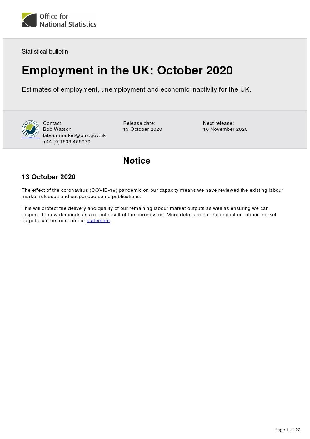英国统计局报告:2020年6-8月英国失业率增长至4.5%