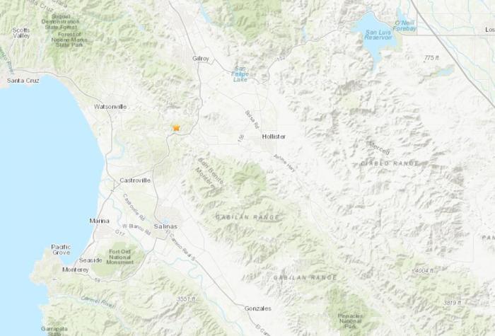 美国萨利纳斯北部地区发生3.3级地震。(图片来源:美国地质勘探局网站截图)
