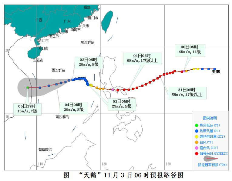 """""""天鹅""""将从中沙和西沙群岛以南海面经过 3日~5日白天海南省海域有强风雨天气图片"""