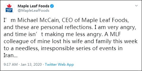"""麦凯恩在公司账号上实名发表""""个人思考"""" 图自:社交媒体"""